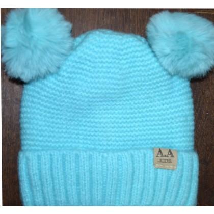 Детска шапка АА KIDS 6 месеца до 2 години в синьо.