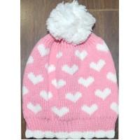 Бебешка шапка СЪРЦА 0-12 месеца в розово.
