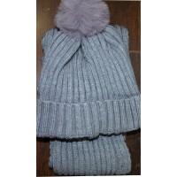 Детски комплект шапка, шал 1-3 години в сиво.