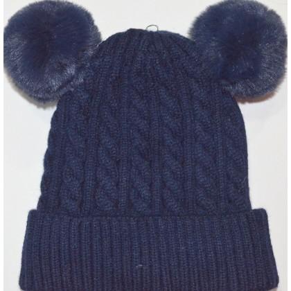 Бебешка шапка код 01 в тъмно синьо.