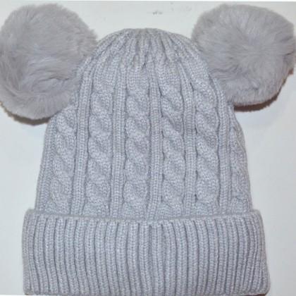 Бебешка шапка код 01 в сиво.