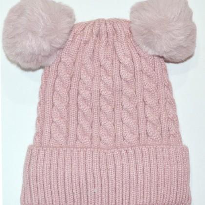 Бебешка шапка код 01 в пепел розово.