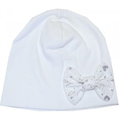 Памучна детска шапка БЯЛА 1-12 месеца.