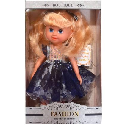 Кукла АНАСТАСИЯ с тъмно синя рокля.