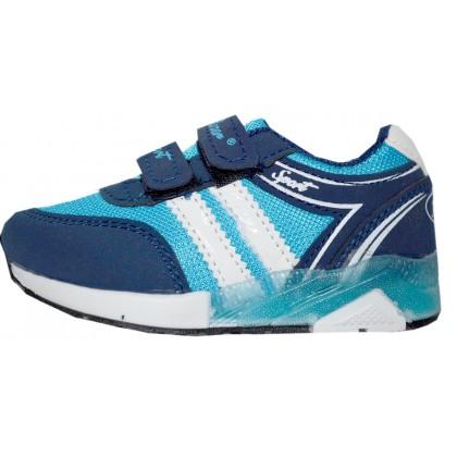 Светещи детски маратонки за момче 22-25 номер в светло синьо.