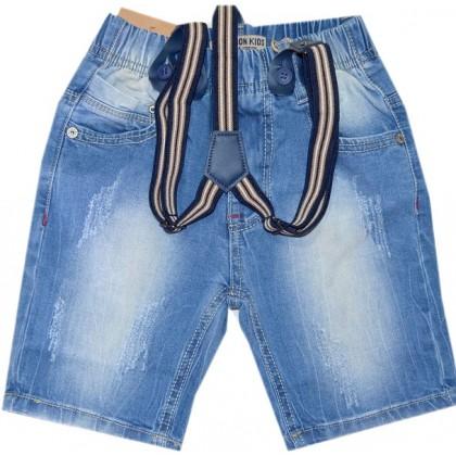 Дънкови къси панталони с тиранти от 1-5 години.