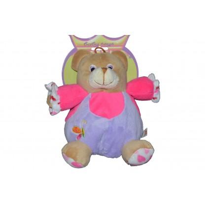 Бебешка дрънкалка Мече в лилаво.