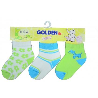 Бебешки чорапки  ЗЕЛЕНИ 3 броя пакет.