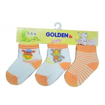 Бебешки чорапки ОРАНЖЕВИ 3 броя в пакет.