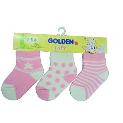 Бебешки чорапки ЦВЕТНИ 3  броя в пакет.