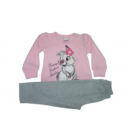 Бебешки комплект Зайче от 80-98 ръст в  бледо розово.