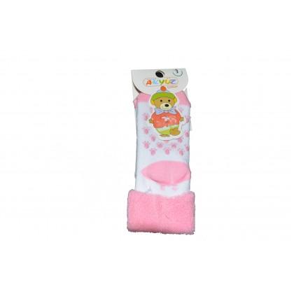 Бебешки термо чорапи РОЗОВО-БЕЛИ.