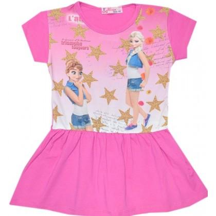 Детска рокля *АНА И ЕЛЗА* 110-128 ръст в розово.